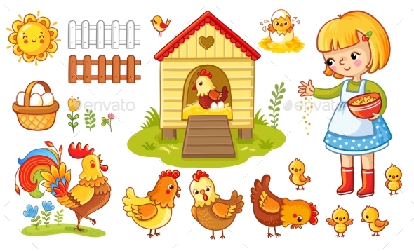 Vector Set with Chicken and Girl - Animals Characters