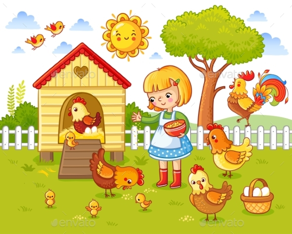 Little Girl Feeds Chickens and Hens - Animals Characters