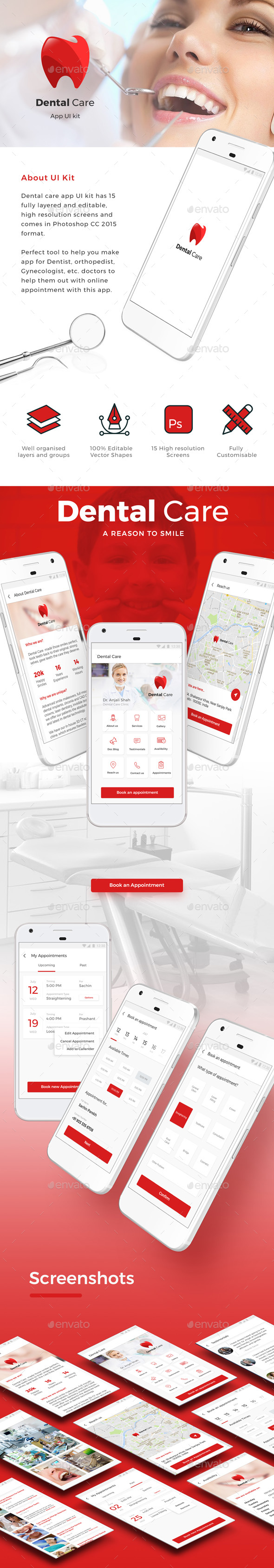 iOS + Android App for Dentist and other Doctors Appointment - User Interfaces Web Elements