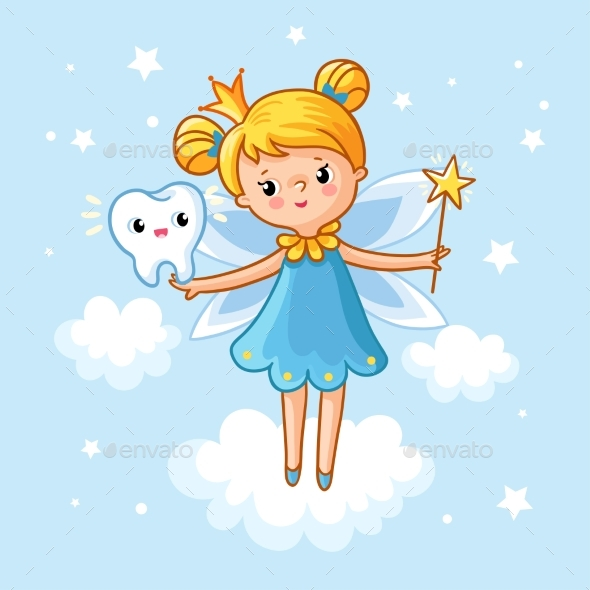Lovely Fairy with a Tooth and a Magic Wand - People Characters