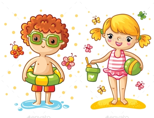 Boy and Girl on the Beach - People Characters