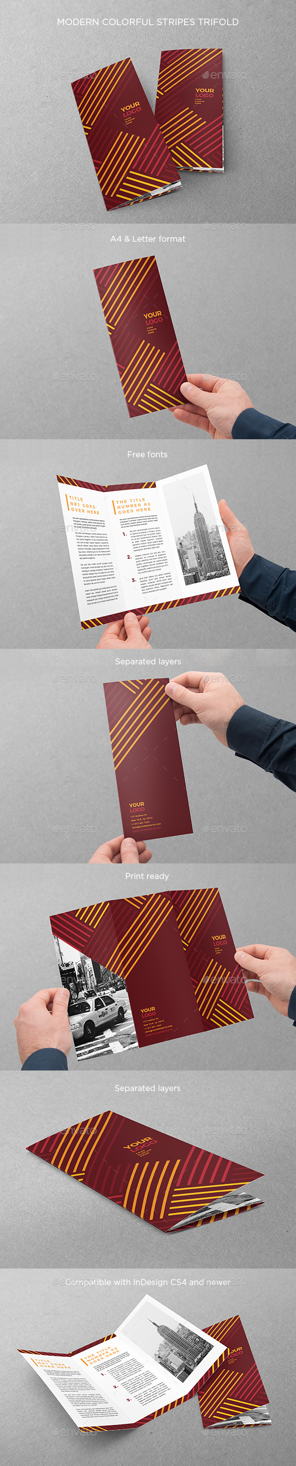 GraphicRiver Modern Colorful Stripes Trifold 20345294