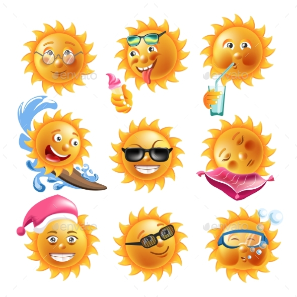 Sun Smiles Summer Holiday Vacation Cartoon - Miscellaneous Characters