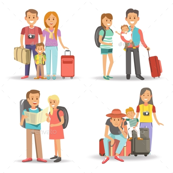Traveling Family Children Summer Holiday Tourism - Travel Conceptual