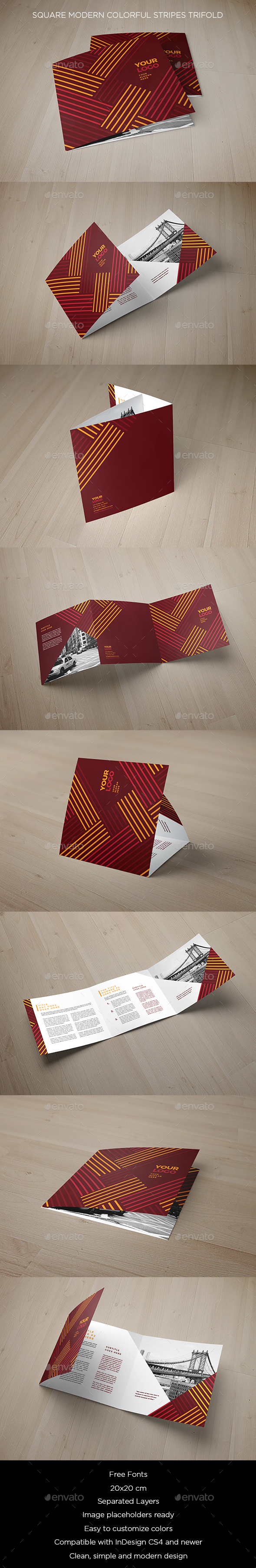 Square Modern Colorful Stripes Trifold - Brochures Print Templates