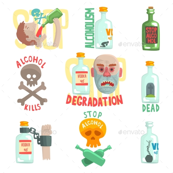 Dangers and Risk From Alcohol Set - People Characters