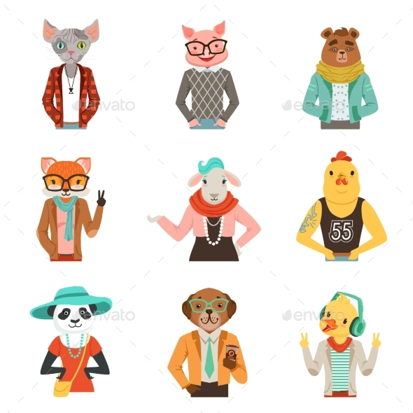Humanized Animals in Fashion Clothes Set - Animals Characters
