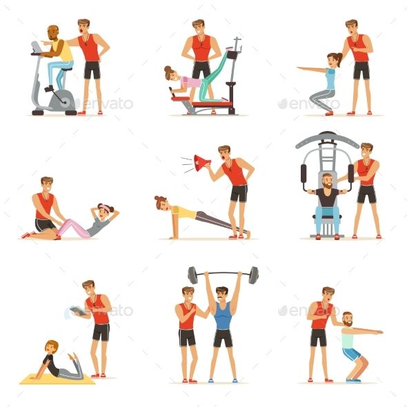 Personal Gym Coach Trainer or Instructor Set - Sports/Activity Conceptual