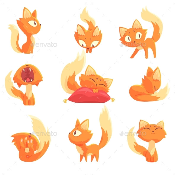 Cartoon Red Kitten Character - Animals Characters