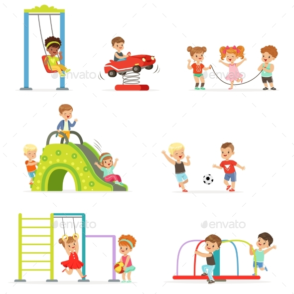 Cartoon Little Kids Playing and Having Fun - Sports/Activity Conceptual
