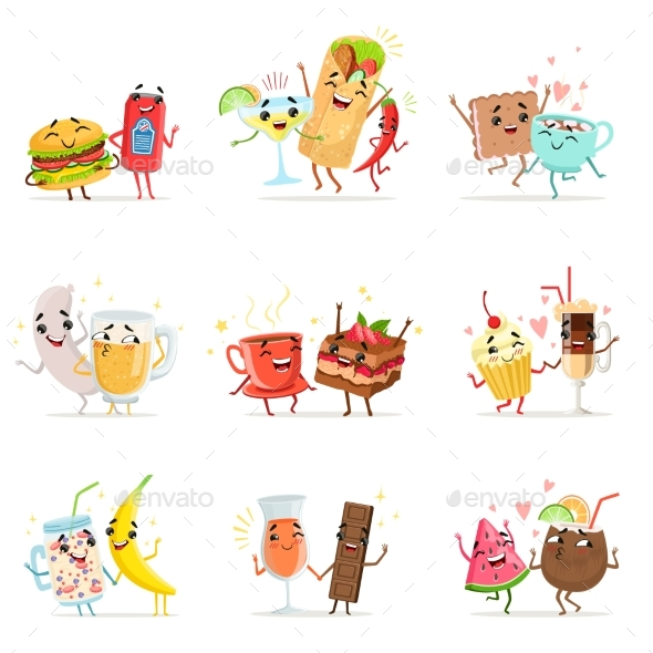 Food Characters Having Fun Vector - Food Objects