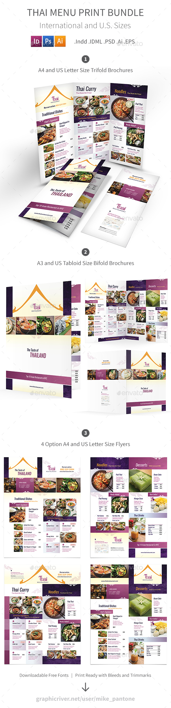 Thai Restaurant Menu Print Bundle 4 - Food Menus Print Templates