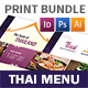 Thai Restaurant Menu Print Bundle 4