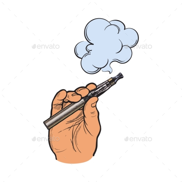 Male Hand Holding E-Cigarette - Miscellaneous Vectors