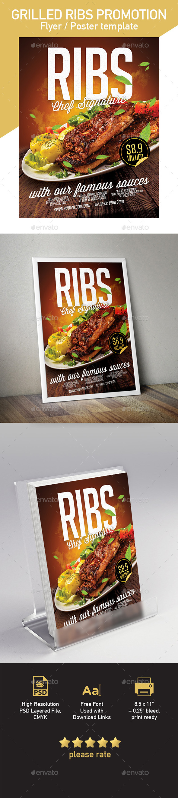 GraphicRiver Flyer Poster Template for Pork Ribs Fast Food 20345809