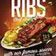 Flyer Poster Template for Pork Ribs Fast Food