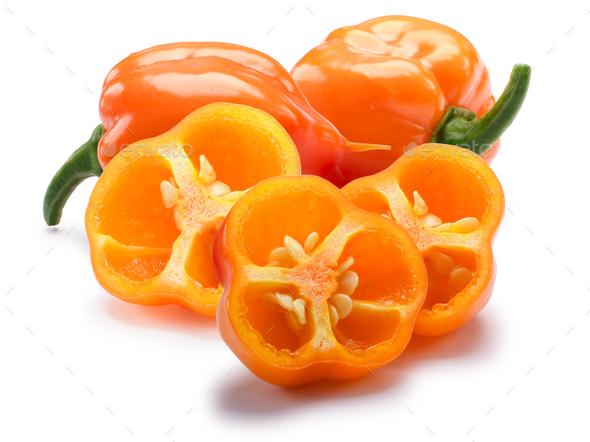 Orange Habanero chiles, paths - Stock Photo - Images