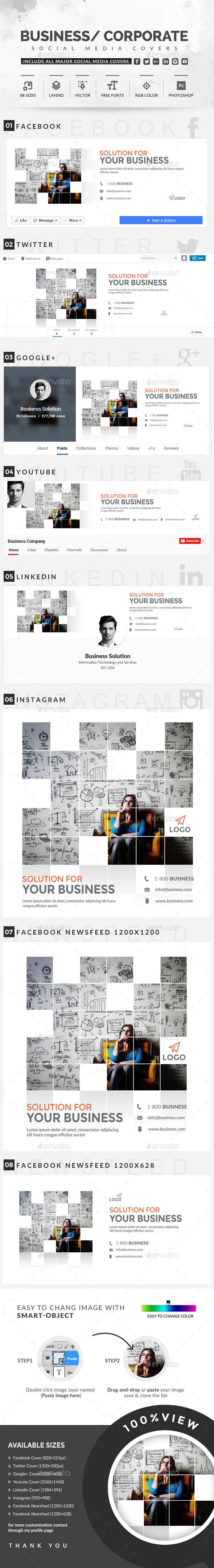 Social Media Covers - Social Media Web Elements