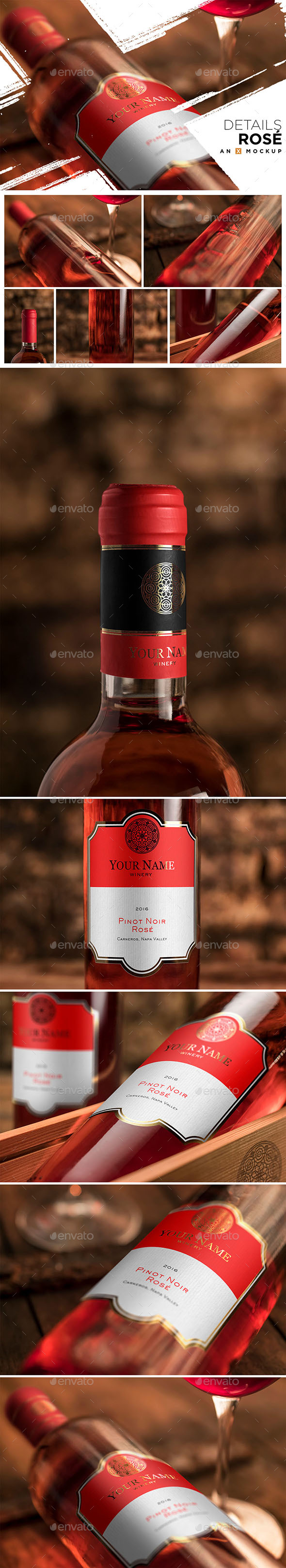 Details Wine Mockup - Bordeaux Rosé - Packaging Product Mock-Ups