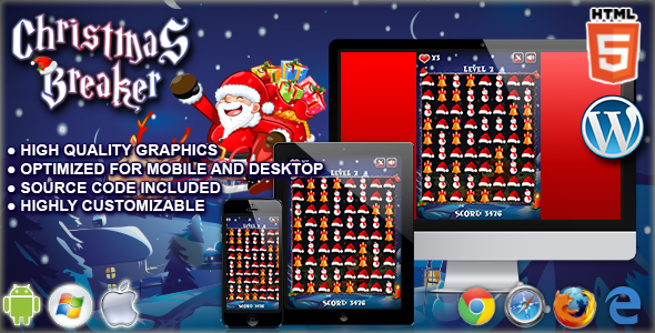 Christmas Breaker - HTML5 Match 3 Game - CodeCanyon Item for Sale