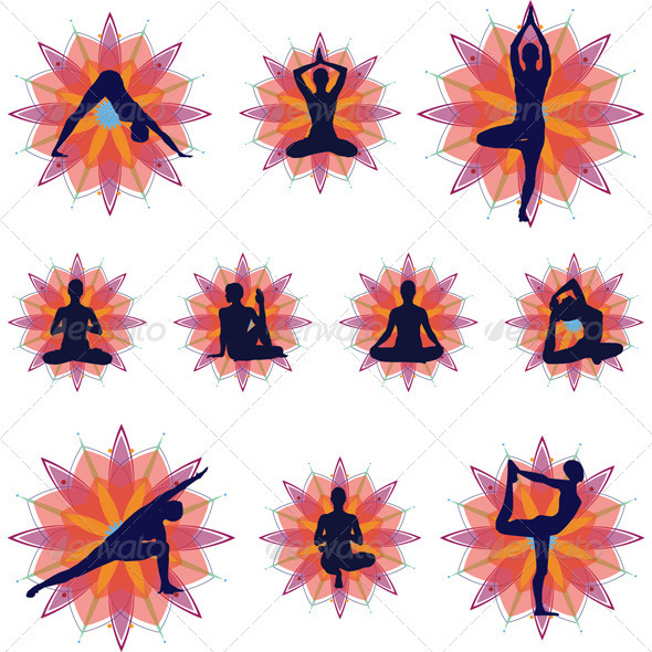 Yoga Silhouettes - Icons Set - People Characters
