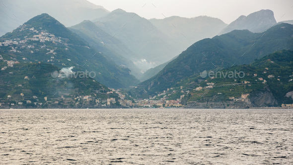 Foggy view of Minori town on Amalfi coast - Stock Photo - Images