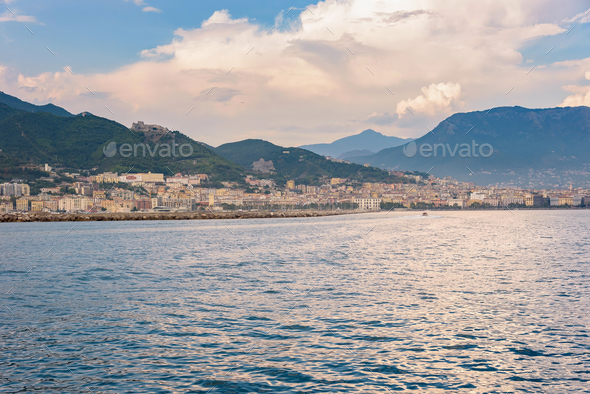 Salerno city at sunset - Stock Photo - Images