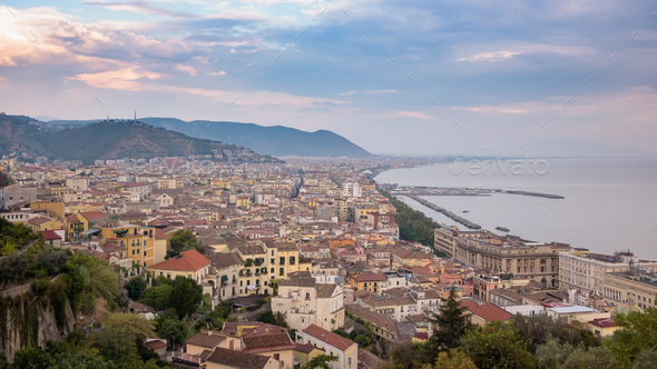 View of Salerno city at sunset - Stock Photo - Images