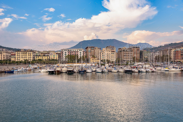 Salerno marina at sunset - Stock Photo - Images