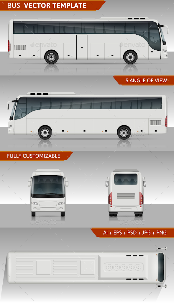 Coach Bus Vector Template - Man-made Objects Objects
