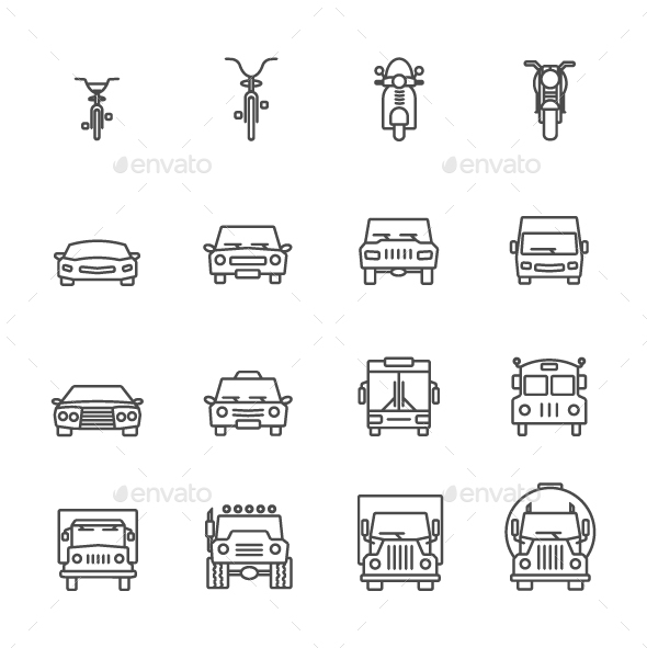 Transportation and Vehicle Icons Set - Icons