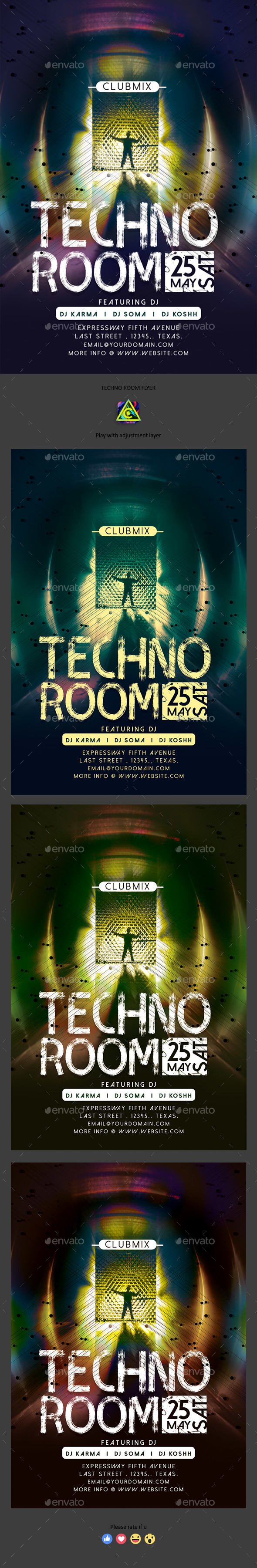 Techno Room Flyer - Clubs & Parties Events