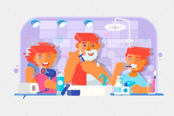 Young Family Brushing Teeth and Shaving - People Characters
