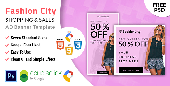 Download Fashioncity | Shopping HTML 5 Animated Google Banner