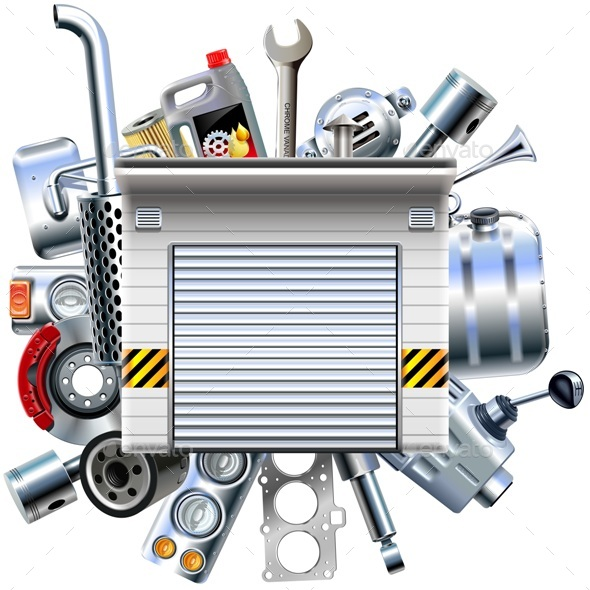 Vector Car Parts with Garage - Industries Business