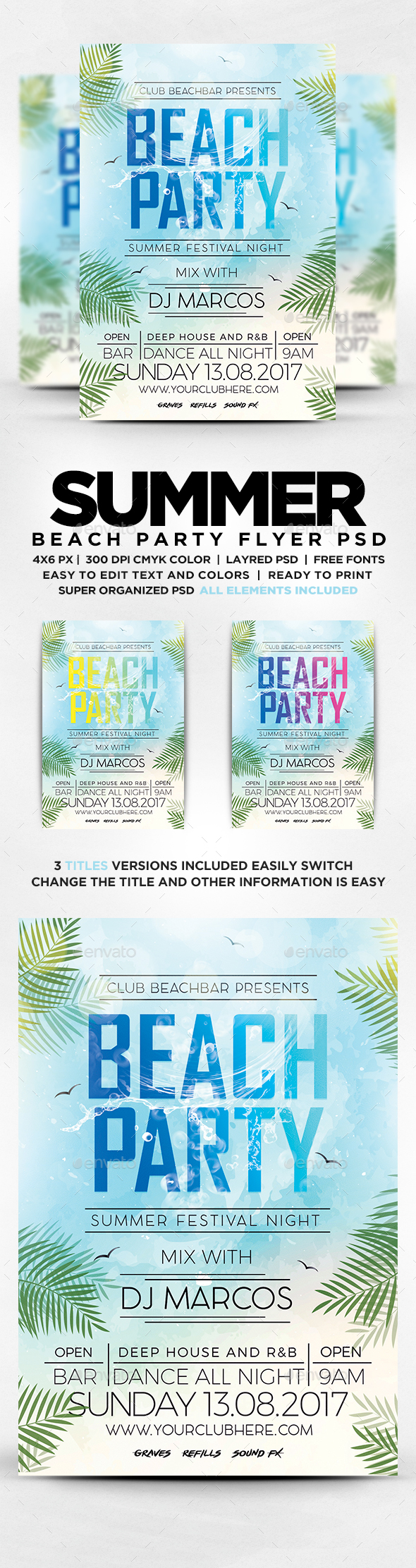 GraphicRiver Beach Party Flyer 20346936