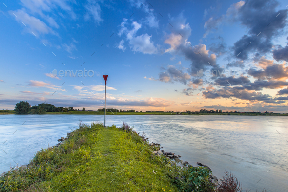 Pier in the Rhine - Stock Photo - Images