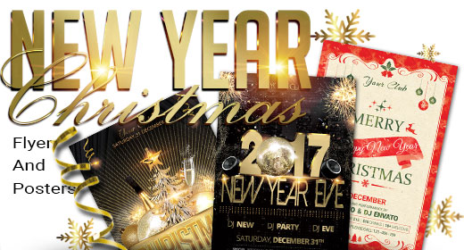 New Year and Christmas Flyer and Posters