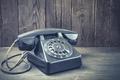 Old black phone closeup