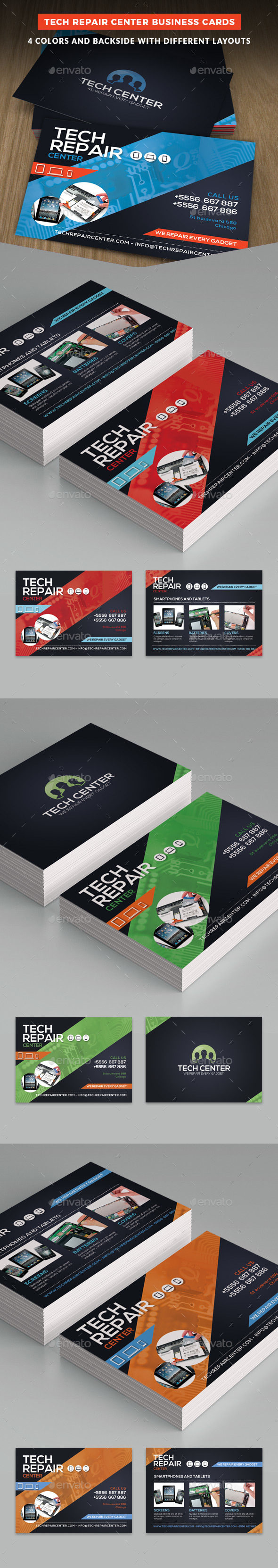 Tech Repair Center Business Cards Template - Business Cards Print Templates