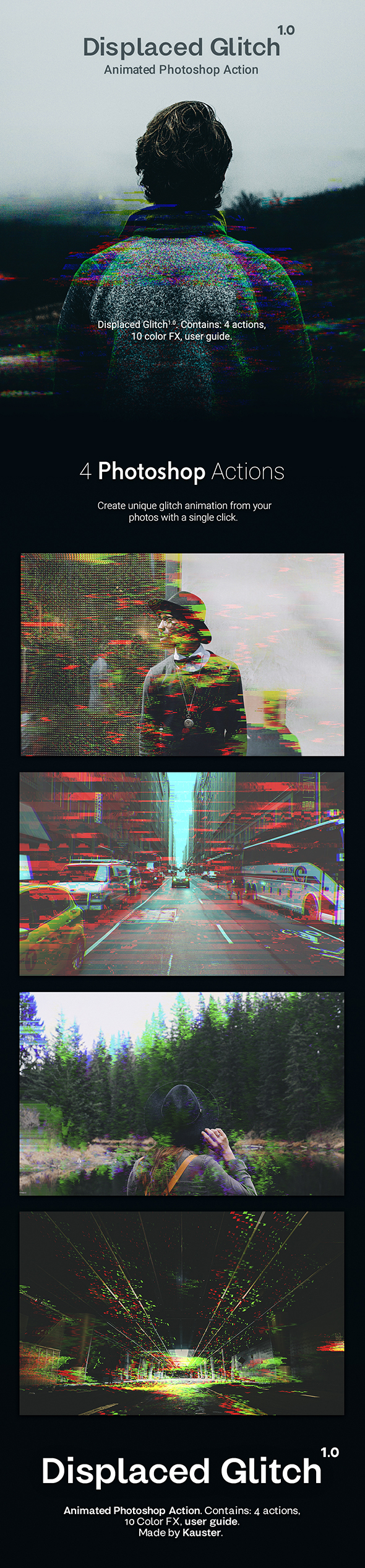 Displaced Glitch - Animated Photoshop Action - Photo Effects Actions