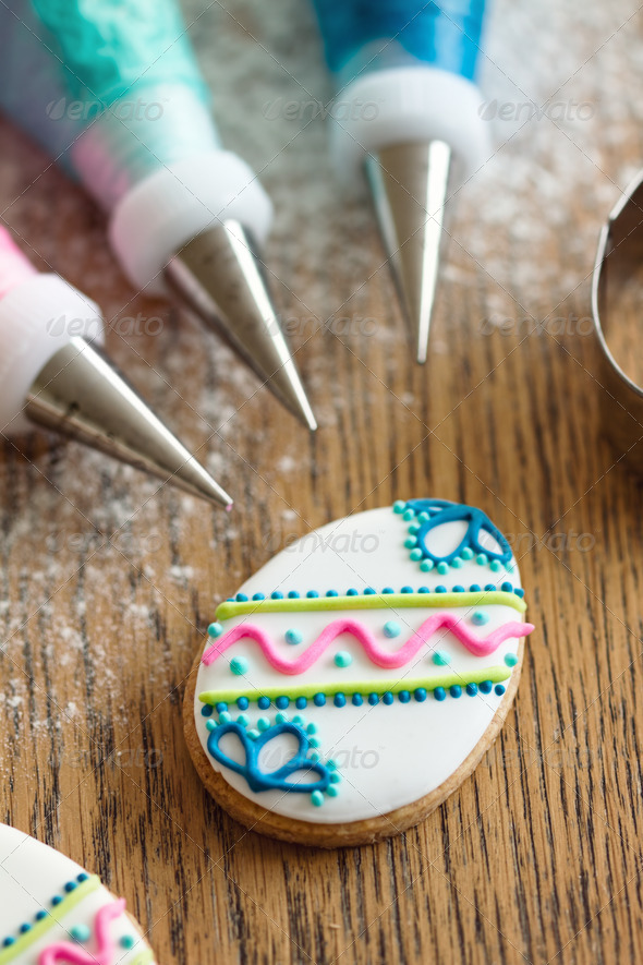 Decorating Easter cookies - Stock Photo - Images