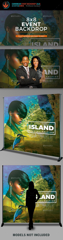 Caribbean 8x8 Backdrop Template - Signage Print Templates