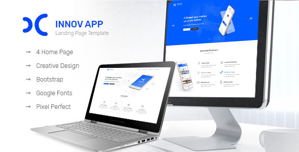Innov App Landing Page - PSD Templates
