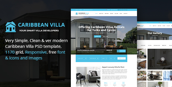 Caribbean Villa – hotel, resort, villa and business PSD Template
