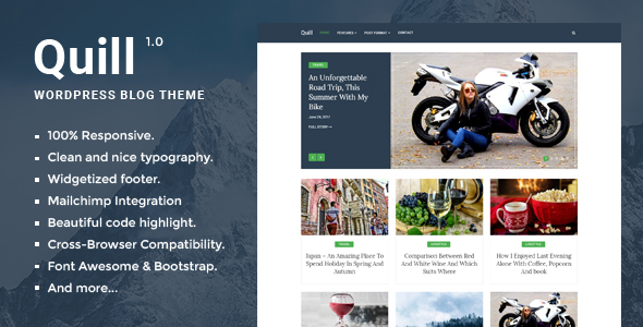 Quill Blog - Responsive Minimal WordPress Blog theme