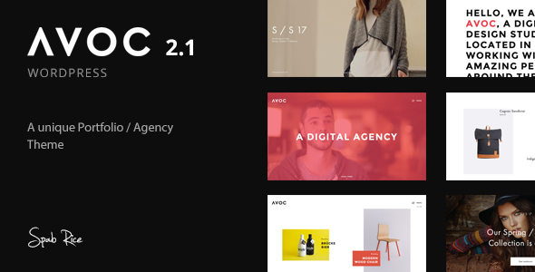 Avoc - Unique and Minimal Portfolio / Agency WordPress Theme