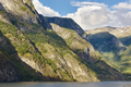 Norwegian fjord landscape. Mountains, water and forest. Norway scenic. Horizontal