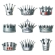 Cartoon Silver Royal Crowns Set