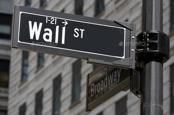 Wall Street and Broadway sign near Stock Exchange, New York
